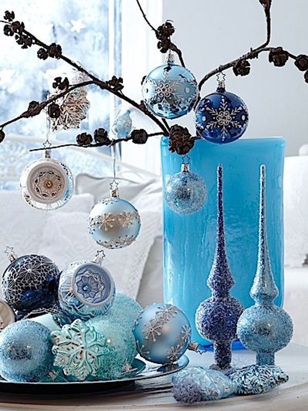 Blue Candle and Ornaments