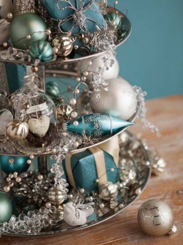 Ornaments on Tray with Multiple Tiers