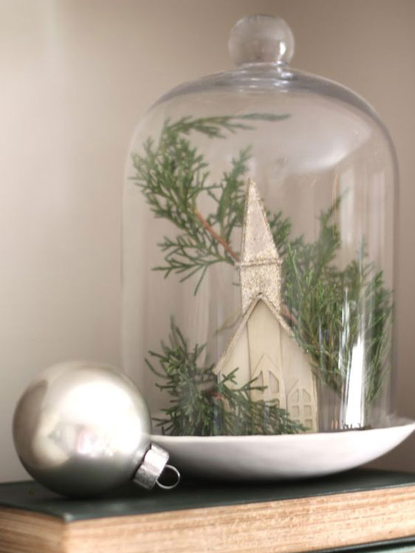 Christmas Church under Bell Jar