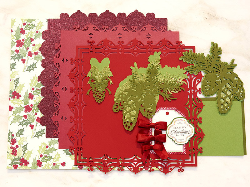 Holiday Flourish Scrapbook Page Materials