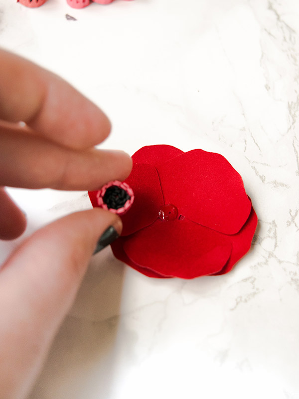 Attach center of the poppy