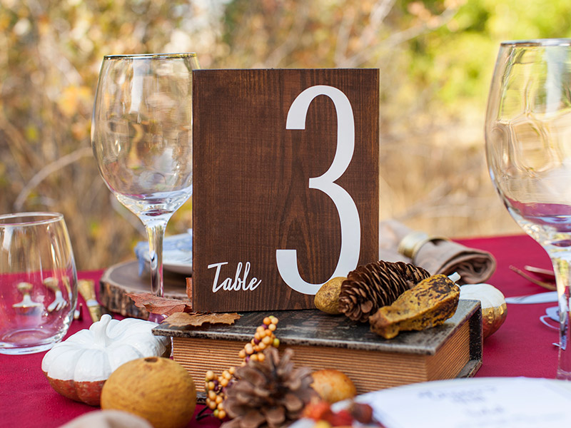 Fall Wedding Table Number